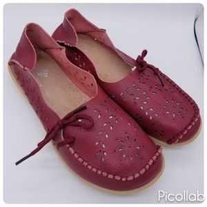 fantiny Shoes - Red Leather Moccasin Flats